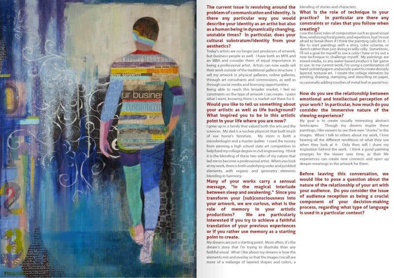 A feature about Kathy Ferguson Artwork published in the magazine Not Random Art