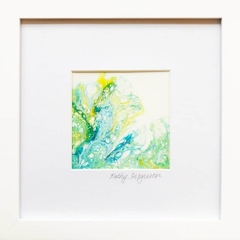 Abstract poured acrylic painting 'Smoke Tendrils' is blue and green, framed and matted behind glass
