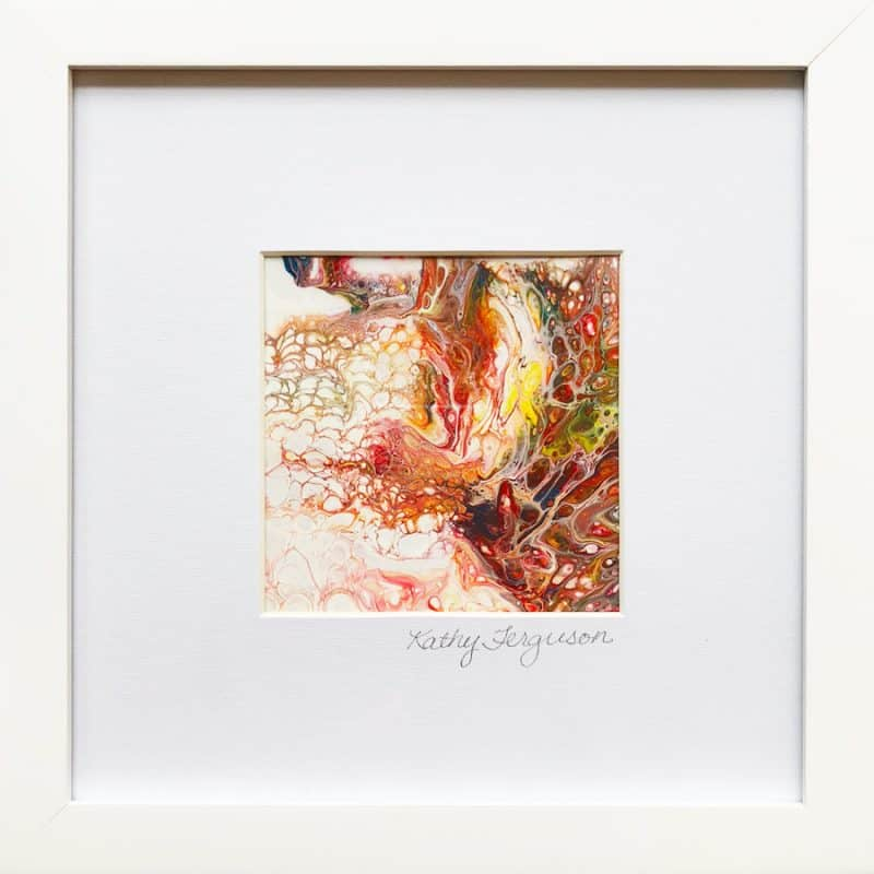 Evolution is a red & orange small poured acrylic paintings matted and framed ready to hang