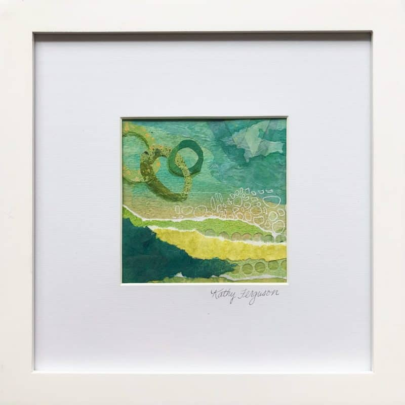 Miniature green field landscape by Colorado artist Kathy Ferguson. Created with painting and collage.
