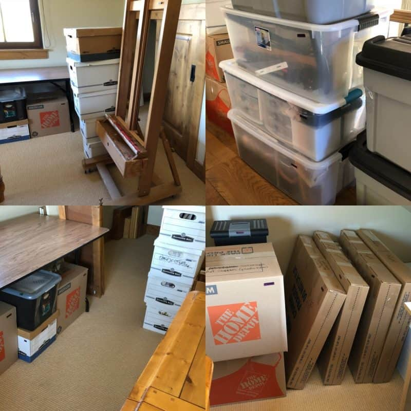 5 tips for moving your studio, stacks of packing boxes and easel