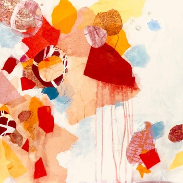 Falling Apart, colorful geometric painting in orange and red