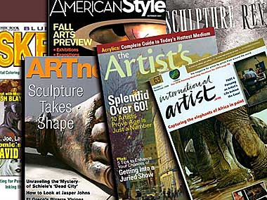 A spread of art magazine publications