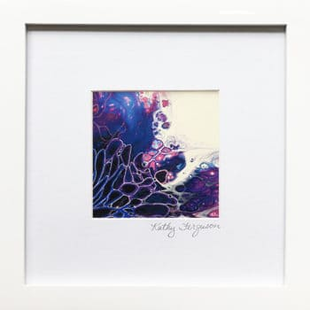 Violet Integration is a poured acrylic painting with violet, blue, and pink. Matted and framed and ready to hang.