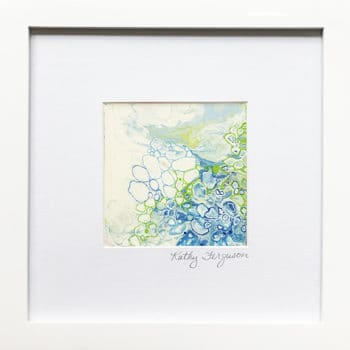 Poured Acrylic Painting Foaming Surf by Kathy Ferguson. Blue and Green painting