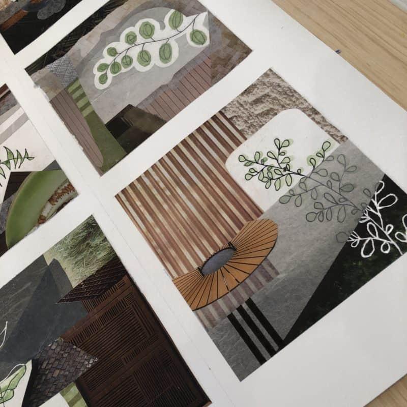Botanical Tidbit collages Kathy Ferguson mixed media