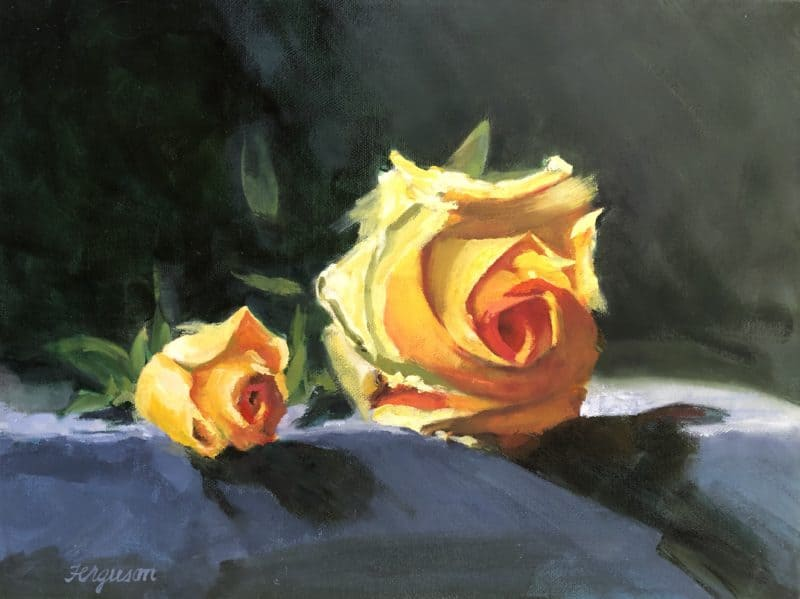 Yellow roses oil painting with dark background