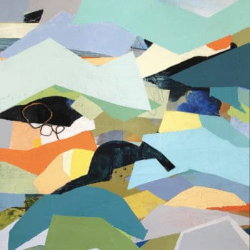 Sharp Edges One, a colorful abstract geometric painting of cold wax, collage, and oil.