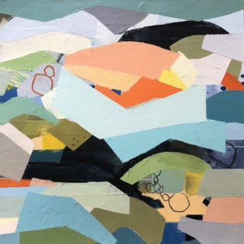 Sharp Edges Three, a colorful cold wax painting with angular shapes