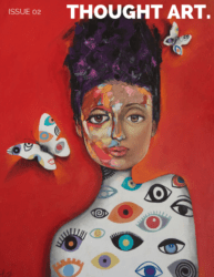 Thought Art Magazine Cover, issue 2 arts publication, July 2020. Women on red background with butterfly