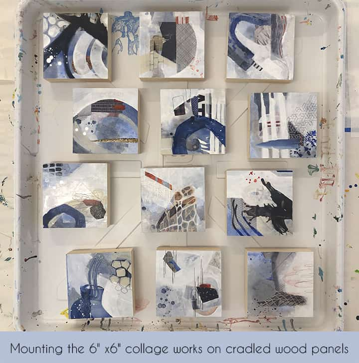 Mounting blue and white collage works on cradled wood panels