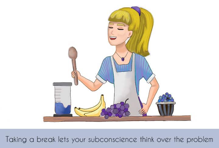 illustration of blond girl making a smoothie