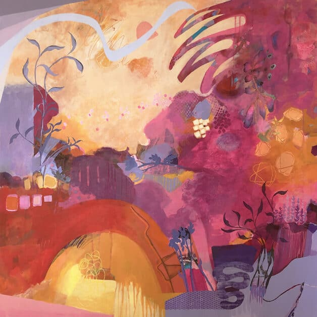 bright pink and orange abstract painting by artist Kathy Ferguson exudes energy and life with its wildly curving lines and growing vines.