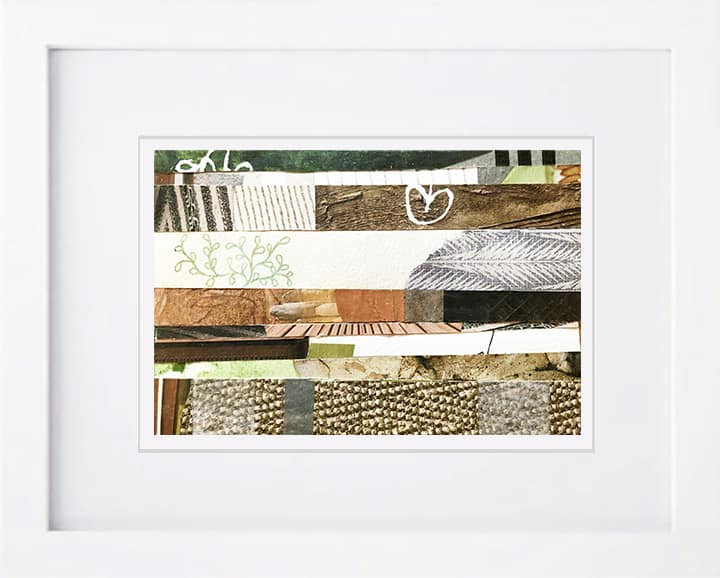 'Nature Medley One' is a soothing abstract nature collage paintings depicting the serene tone of wood, wool, and leaves. Brown, tan, cream, and green.Artist Kathy Ferguson