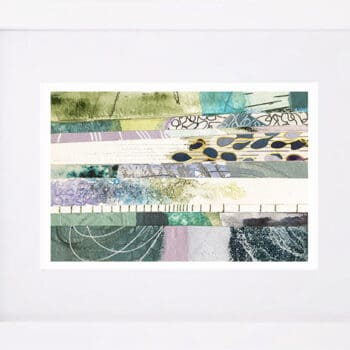 "Framed abstract ocean collage painting ""Ocean Hue One""by Colorado artist Kathy Ferguson"