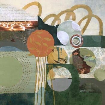 Autumn Memories is a 1970s retro geometric art painting in avocado green, harvest gold, and burnt orange. By artist Kathy Ferguson