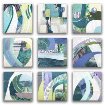 Ocean abstract painting multi-paneled blue, green, and purple art