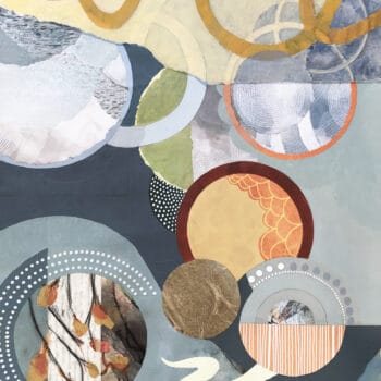 Autumn Moment, an Abstract Autumn Circle Painting in yellow, green, and orange by artist Kathy Ferguson