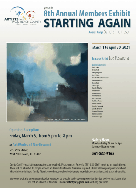 Starting Again art exhibition by the Artists of Palm Beach County at the ArtWorks Gallery in Northwood