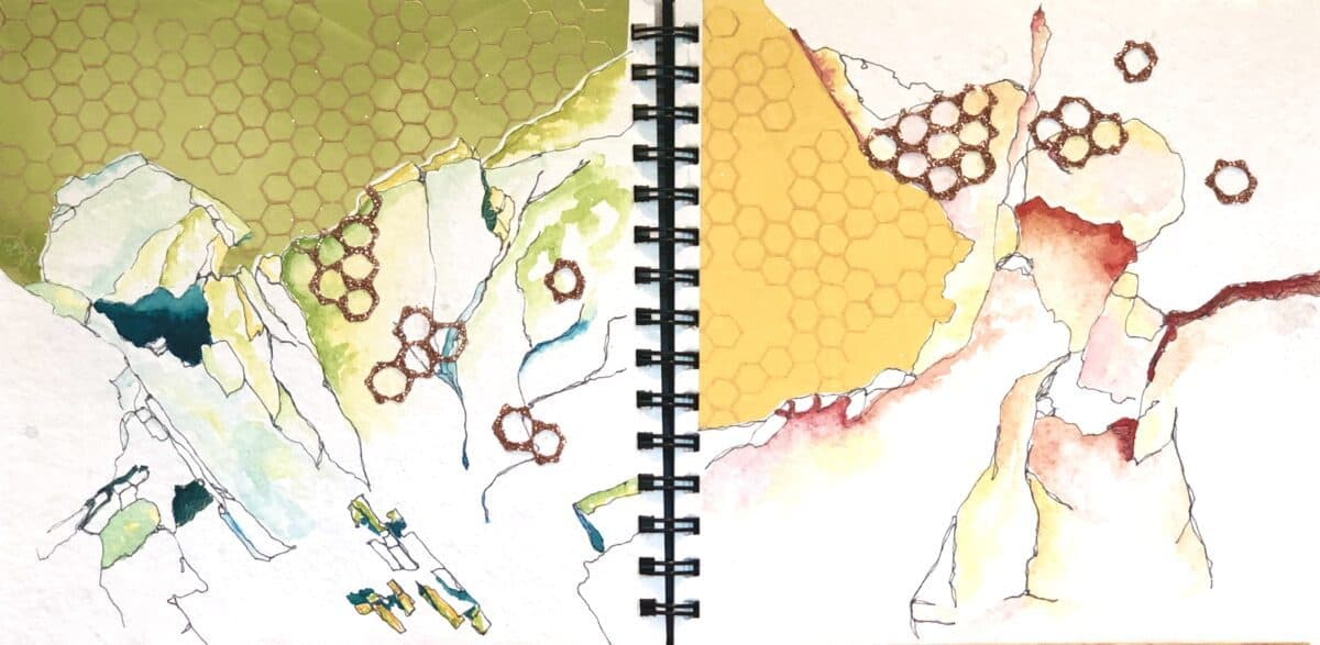 Sketchbook collaboration between three artists